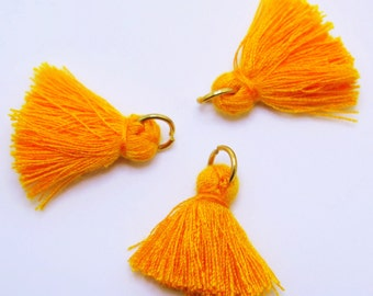 Small Cotton Jewelry Tassels with Matching Binding and Gold Plated Jump Ring - Pumpkin Orange Tassels - 3 pcs - Approx 25mm - TSL52