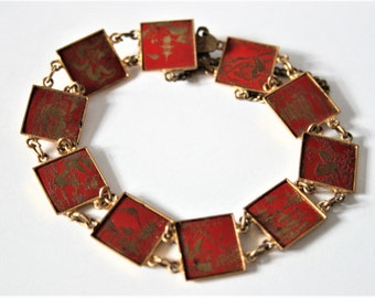 Vintage Japanese bracelet. Red enamel bracelet. Bird and pagoda bracelet.  Vintage jewellery