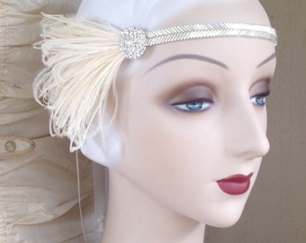 silver flapper headband 1920's style headpiece with cream feathers beaded band, vintage style rhinestone button and feathers gatsby era
