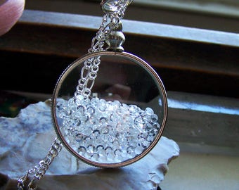 Floating Swarovski Crystals Double Sided Glass Locket Necklace