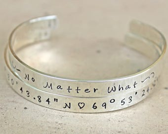 Personalize Custom Sterling Silver Cuff Bracelet, Wedding, Mother, Graduation, Open Back Bangle, Child's Name, Phrases, Scripture, Quotes