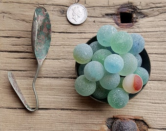 SEA MARBLE SOUP  - 20 Scottish Sea Marbles - Sea Metal Spoon - Antique Sea Metal Telephone Bell - Scottish Beach Finds (6754)