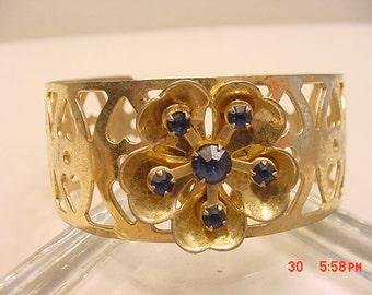Vintage Blue Rhinestone Cuff Bracelet  16 - 930