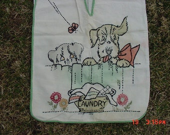 Vintage Embroidered Laundry Bag With Puppy Dogs  17 - 190