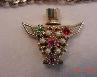 Vintage Rhinestone Bottle Perfume Flask Bracelet  17 - 562