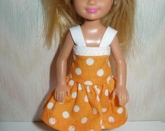 "Handmade 5.5"" little sister fashion doll clothes -peach and white polka dot dress"