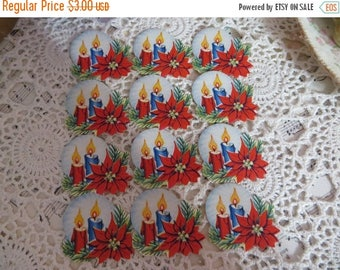 Store Closing SALE Vintage Dennison Die Cuts-Seals-Sticker-Gummed-Candles-Poinsettia-Christmas- set of 12