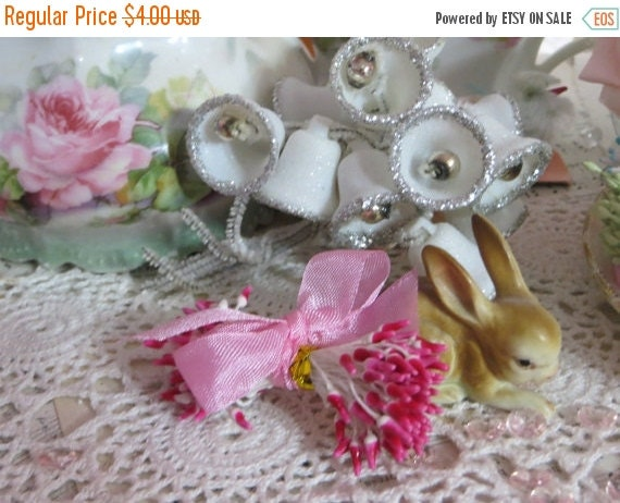 ON SALE Vintage Millinery Hat Supplies-Stamens-Pips-Sugar Craft-Cakes-Wedding-Corsages-OLD Stock-Double Ends-Screaming Pink