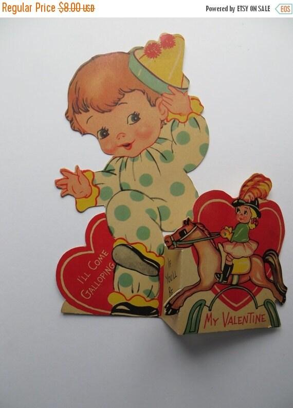 ON SALE Vintage Childrens Valentine Day Card-Ephemera-Mixed Media-Paper-Crafts-Scrap Booking-Baby Clown-Circus