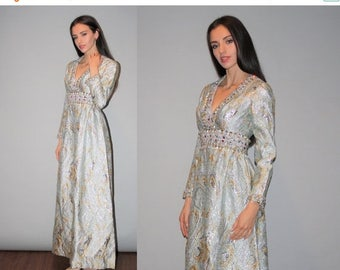 40% Limited time SALE  - Vintage 1960s Ice Blue and Gold Metallic Beaded Deep V Neck Long Gown-  60s Metallic Wedding Dress  -  Vintage 60s