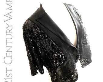 1930s Sequin Jacket. Black Silk Tuxedo Style Bolero. Art Deco Fashion. Jazz Age. Larger Size.