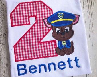Paw Patrol Birthday, Chase Birthday Shirt, Birthday, Paw Patrol, Sky, Shirt, Marshall, Police, Fireman Shirt, Puppy