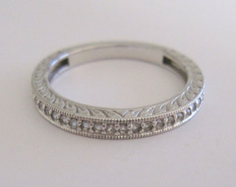 Vintage Sterling Silver 925 Half Eternity Band Stacking Ring With Natural Zircon Stones Size 9