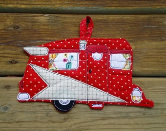 Ready to ship Camper Potholder,Red Polka dot Shasta camper hot pad, kitchen decor, camping decor