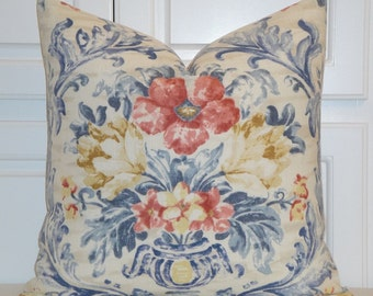 KRAVET - Decorative Pillow Cover - French Country - Floral Vase - Washed Blue - Soft Red - Tan - Toss Pillow - Pierre Deux