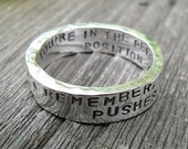 Mothers Day Sale: Custom Thick Sterling Silver Ring - Engraved Both Inside and Outside - Choose from 14 Fonts