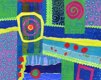 Mixed media collage square format spirals circles blue-green yellow-green red violet purple yellow abstract down the drain original
