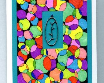 Handmade Mixed Media Pendant Notecard Original Art Blank Inside OOAK Gift For Women