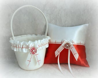 Personalized Firefighter Ring Bearer Pillow and Flower Girl Basket - Wedding Pillow and Basket - Firefighter Wedding Accessories.