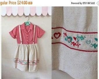 40% OFF anniversary sale vintage 1960s girl's dress - OKTOBERFEST folklore heart dress / 7yr