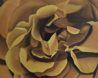 "Yellow Rose Oil Painting - gallery wrapped canvas - 32"" x 24"""