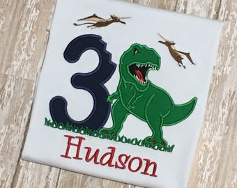 Dinosaur T Rex Birthday Applique Shirt