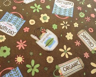 Earth Day Fabric, Debbie Mumm Out of Print and Hard to Find.  Multiple Yards Available.  Sold by the Yard, 100% cotton