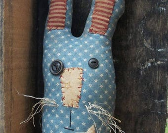 Primitive Blue Americana Bunny Face Patriotic Rabbit country shelf sitter doll