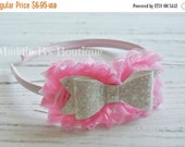 CLOSING SALE Princess Pink Glitter headband-shabby flower glitter bow headband-photo prop-made by Maddie B's Boutique on Etsy