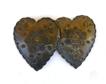 Vintage 1920s French Buckle Arts and Crafts Brass Heart Shaped Buckle Pair of Metal Embossed Patterned Hearts Photo Prop