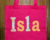 Girl's Large Personalized  School Tote (with button closure) - kids travel tote birthday gift idea unique custom library book bag preschool