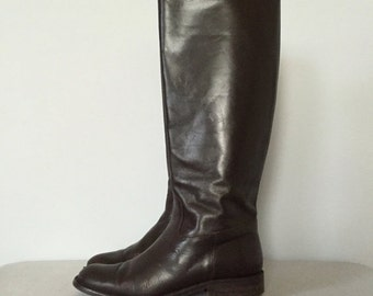 30% OFF WINTER SALE... dark chestnut riding boots   italian leather boots   7.5