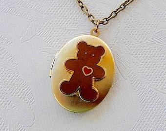 Teddy Bear Locket, Vintage Bear, Working Locket, Gift for Her