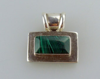 Vintage Sterling Silver and Inlaid Malachite Pendant