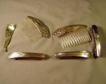 Vintage Lot Silver Plated Spoon Handle 2 Hair Combs & 2 Hair Clips 1 Pin 9244