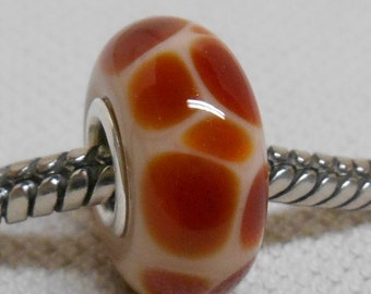Glass Lampwork Bead Giraffe Print Beige and Brown Silver Cored Large Hole Bead