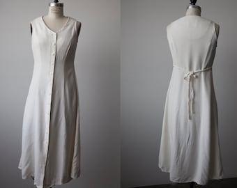 Vtg 90s White Button Down Midi Dress XS-S