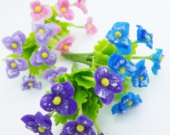 Miniature Pansy Polymer Clay Flowers Supplies for Dollhouse set of 24 stems with leaves, assorted
