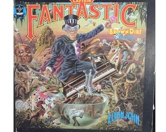 Vintage Vinyl Elton John Captain Fantastic and the Brown Dirt Cowboy Vinyl Album Cover Art Alan Aldridge LP 33 Someone Saved My Life Tonight
