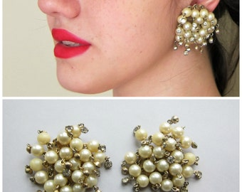 Vintage 1960s Oversized Cluster Earrings Faux Pearl and Rhinestones / 60s Statement Clip On Party Earrings