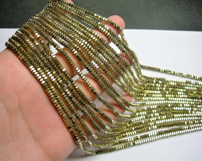 Hematite gold - 3mm faceted rectangle - full strand - 204 beads - AA quality - PHG264