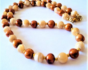c.1980s Bronze & Cream Bead Necklace... Mother of Pearl... Dyed Real Pearls