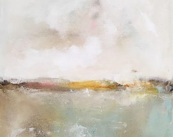 Abstract Seascape Painting -Quiet a Sea 2 12 x 16