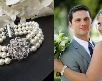 Bridal pearl and crystal Bracelet Statement Bridal Bracelet Bridal Cuff Wedding Rhinestone Bracelet swarovski crystal bracelet ROSELANI