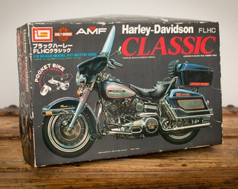 NIB Harley-Davidson FLHC Classic Motorcycle Model Kit, 1/12 Scale, Vintage 80s, AMF Imai Kagaku, New in Box Toy, Pocket Motor-Bike, 1982