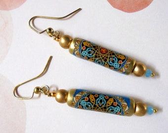 Aqua Blue, Black, Red, Mustard and Gold Boho Mandala Earrings (3456)