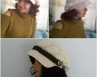 Cream Slouchy Newsboy Cap -Button- Handmade-Knitted newsboy brimmed slouch hat