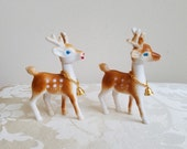 Vintage Deer Set of 2 Plastic Statues Figurines With Antlers Moveable Heads & Gold Bells Chains, Woodlands Animal, Art Supplies