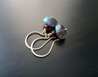Garnet, Labradorite, Dangle Earrings, Gemstone Jewelry, January Birthstone, 14kt Gold Filled