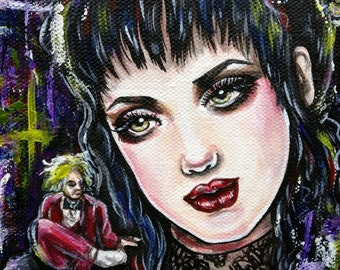 Lydia Deetz - 8x10 Stretched Canvas  Print Giclee Illustration Creepy Cute Spooky Gift Beeteljuice  Lowbrow Art